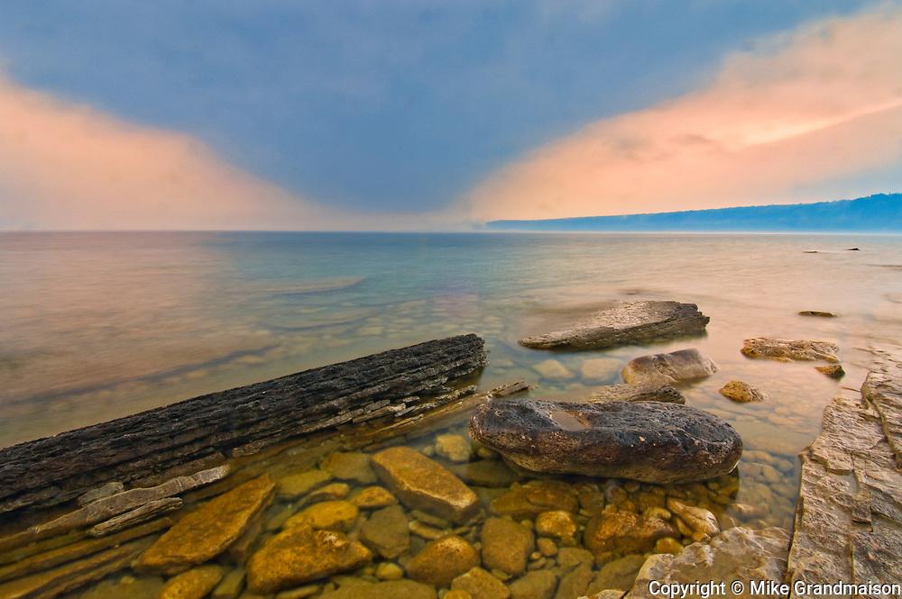 Morning fog on Georgian Bay. Limestone Rock. Barrow Bay.<br />Bruce Peninsula<br />Ontario<br />Canada