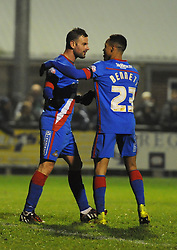 Doncaster Rovers' Richard Wellens celebrates his goal with Doncaster Rovers' Kyle Bennett - Photo mandatory by-line: Dougie Allward/JMP - Mobile: 07966 386802 - 18/11/2014 - SPORT - Football - Weston-super-Mare - Woodspring Stadium - Weston Super Mare v Doncaster Rovers - FA Cup