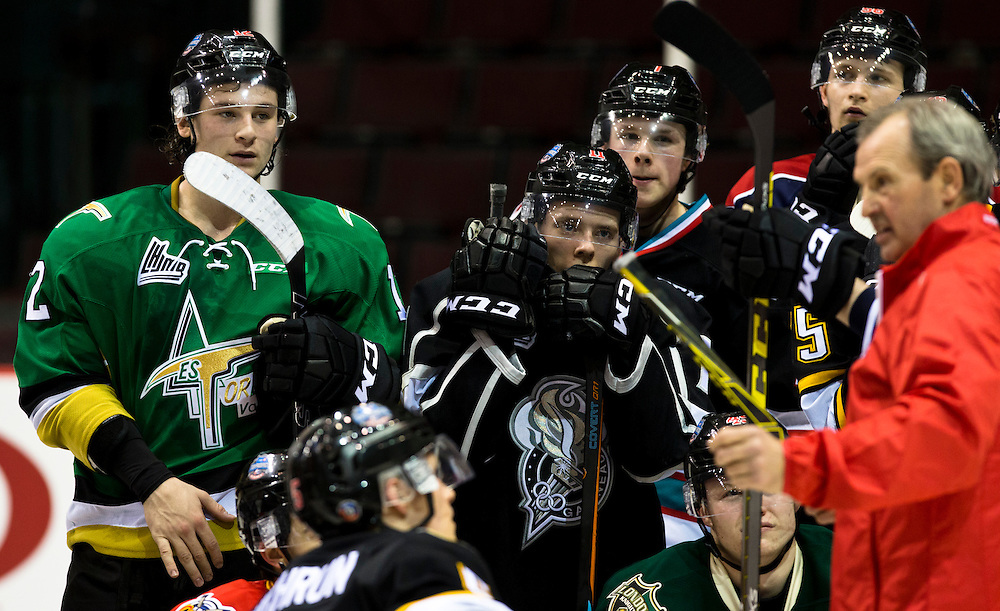 Junior Hockey players from the QMJHL, OHL and WHL prepare for the BMO CHL/NHL Top Prospects game between team Cherry and team Orr at the Pacific Coliseum in Vancouver, British Columbia Canada on January 27, 2016.