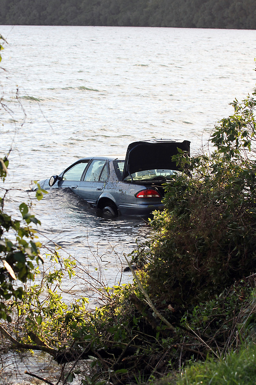 A family had a lucky escape after their car crashed and ended up in Lake Rotorua, Rotorua, New Zealand,Thursday, July 25,2013. Credit;SNPA / Peter Graney