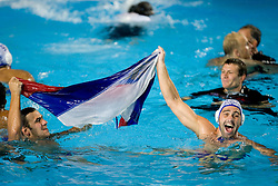 Zivko Gocic (R) of Team of Serbia celebrates after the Men's  Waterpolo Final match between National teams of Serbia and Spain during the 13th FINA World Championships Roma 2009, on August 1, 2009, at the Stadio del Nuoto,  in Foro Italico, Rome, Italy. Serbia won after penalties shootout 14:13.  (Photo by Vid Ponikvar / Sportida)