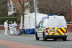 © Licensed to London News Pictures . 01/03/2013 . Manchester , UK . Forensic Scenes of Crime investigators on Wilbraham Road , Chorlton , Manchester today (1st March 2013) . Police report they are investigating following the discovery of a body this morning (1st March) . Photo credit : Joel Goodman/LNP