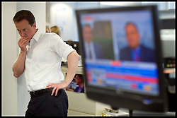 Leader of the Conservative Party David Cameron at CCHQ watching the election results come in in the early hours of Friday morning before he left CCHQ, Friday May 7, 2010, Photo By Andrew Parsons/i-Images