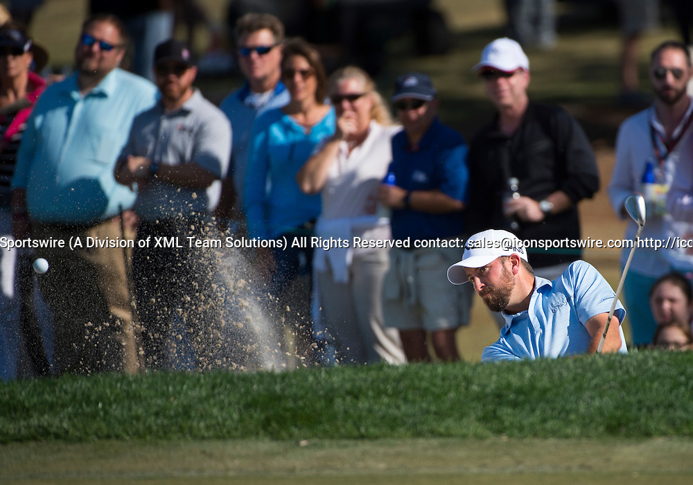 27 February 2016: Michael Thompson hits out of a bunker during the third round of the Honda Classic at the PGA National Resort & Spa in Palm Beach Gardens, FL.