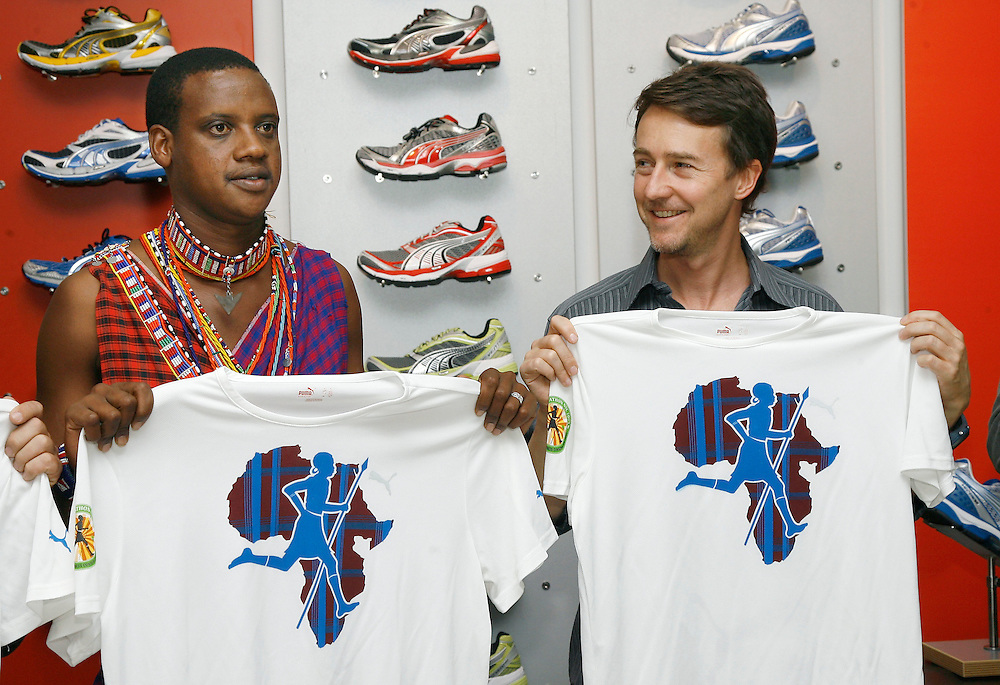 Ed Norton & Maasai Warriors - PUMA, in New York, Thursday, Oct., 22, 2009. ( Photo/Stuart Ramson)