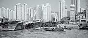 moored boats, Hong Kong Harbour