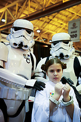 10 January 2015. New Orleans, Louisiana. <br /> Scenes from the Wizard World New Orleans Comic Con 2015 at the Morial Convention Center. Stormtroopers arrest Princess Leia.<br /> Photo; Charlie Varley/varleypix.com