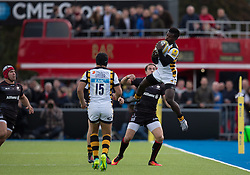 October 9, 2016 - Barnet, England, United Kingdom - Christian Wade of Wasps RFC jumps for a ball during the Aviva Premiership match between Saracens and Wasps at the Allianz Park, London, England on 9th October 2016.    in Barnet, England. (Credit Image: © Kieran Galvin/NurPhoto via ZUMA Press)