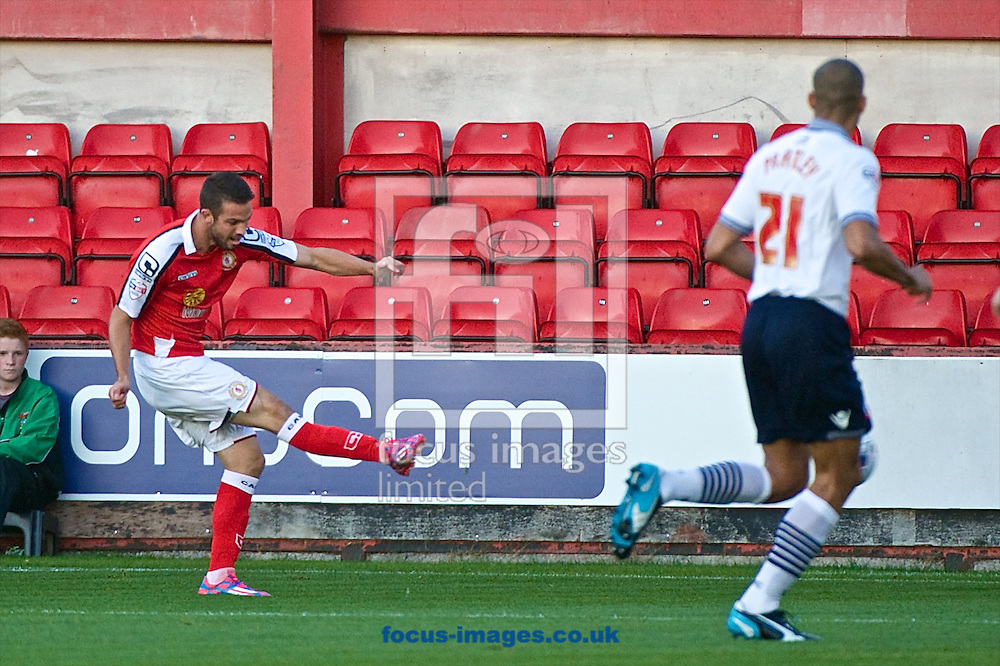 Bradden Inman of Crewe Alexandra scores to make it Crewe Alexandra 1 Bolton Wanderers 0 during the Capital One Cup match at Alexandra Stadium, Crewe<br /> Picture by Ian Wadkins/Focus Images Ltd +44 7877 568959<br /> 26/08/2014