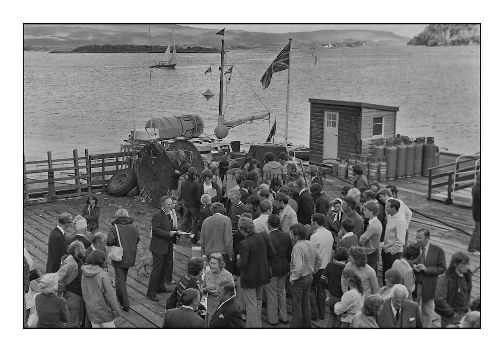 Historic Scottish Series Images<br /> <br /> Prizegiving Tobermory Harbour 1975<br /> <br /> Picture Copyright  PFM Pictures