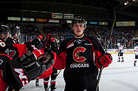 KELOWNA, CANADA - MARCH 14:  Austin Crossley #6 of the Prince George Cougars celebrates a goal against the Kelowna Rockets on March 14, 2018 at Prospera Place in Kelowna, British Columbia, Canada.  (Photo by Marissa Baecker/Shoot the Breeze)  *** Local Caption ***