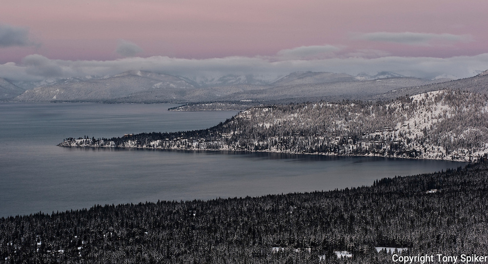 """Winter Sunrise Over Lake Tahoe 4"" - The sun rises over Crystal Bay and the North Shore of Lake Tahoe from the Mt. Rose overlook"