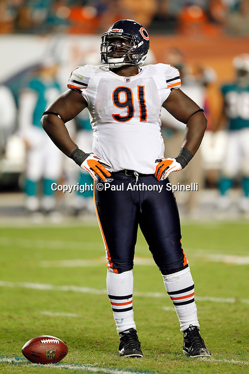 Chicago Bears defensive tackle Tommie Harris (91) during the NFL week 11 football game against the Miami Dolphins on Thursday, November 18, 2010 in Miami Gardens, Florida. The Bears won the game 16-0. (©Paul Anthony Spinelli)