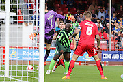 Bayo Akinfenwa of AFC Wimbledon equalises and celebrates during the Sky Bet League 2 match between Crawley Town and AFC Wimbledon at the Checkatrade.com Stadium, Crawley, England on 15 August 2015. Photo by Stuart Butcher.