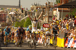Tour de France 2010.An emotional Mark Cavendish wins Stage 5 Epernay-Montargis of the cycling Tour de France 2010.08-07-2010.