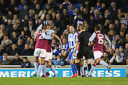 Aston Villa defender Nathan Baker (2) is congratulated after his goal 0-1 during the EFL Sky Bet Championship match between Brighton and Hove Albion and Aston Villa at the American Express Community Stadium, Brighton and Hove, England on 18 November 2016. Photo by Phil Duncan.