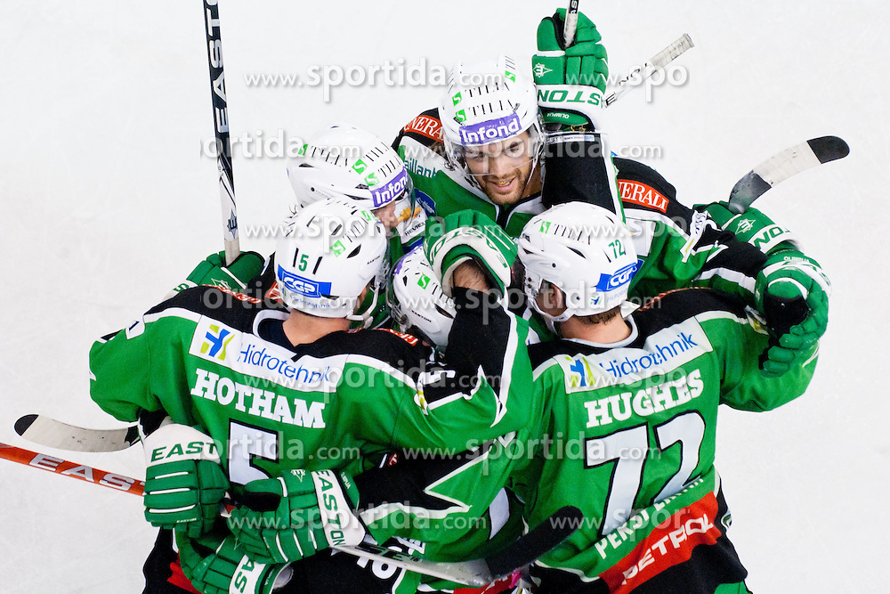 Team HDD Tilia Olimpija celebrate goal during ice-hockey match between HDD Tilia Olimpija and EC Red Bull Salzburg in 20th Round of EBEL league, on November 6, 2011 at Hala Tivoli, Ljubljana, Slovenia. HDD Tilia Olimpija won in overtime 3:2. (Photo By Matic Klansek Velej / Sportida)