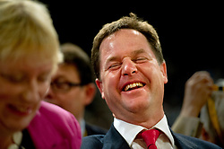 © London News Pictures. 25/09/2012. Brighton, UK.  Leader of the Liberal Democrats, Nick Clegg laughing with a delegate  on day 4 of the Liberal Democrat Conference in Brighton on September 25, 2012. Photo credit : Ben Cawthra/LNP.