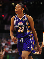June 4, 2010; Phoenix, AZ, USA; Los Angeles Sparks forward Tina Thompson  reacts during a game against the Phoenix Mercury during the first half at US Airways Center.  The Mercury defeated the Sparks 90-89.  Mandatory Credit: Jennifer Stewart-US PRESSWIRE