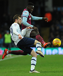 Axel Tuanzebe of Aston Villa competes with Tom Barkhuizen of Preston North End- Mandatory by-line: Nizaam Jones/JMP - 20/02/2018 - FOOTBALL - Villa Park - Birmingham, England - Aston Villa v Preston North End- Sky Bet Championship