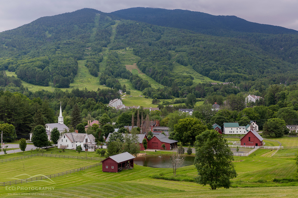 The view of Mount Ascutney from Brownsville Village in West Windsor, Vermont. Village Farm.