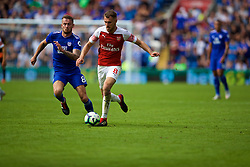 CARDIFF, WALES - Sunday, September 2, 2018: Arsenal's Aaron Ramsey and Cardiff City's Joe Ralls (left) during the FA Premier League match between Cardiff City FC and Arsenal FC at the Cardiff City Stadium. (Pic by David Rawcliffe/Propaganda)
