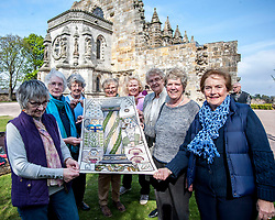 A copy of the Rosslyn panel that was stolen from the Great Tapestry of Scotland has been presented to the trustees after the original stitching team recreated their original. Pictured with the replacement outside Rosslyn Chapel are stitchers Margaret Humphries, Jean Lindsay, Anne Beedie, Jinty Murray, Barbara Stokes Fiona McIntosh and Phillipa Peat together withCo-ordinator Dorie Wilkie.<br /> <br /> © Dave Johnston/ EEm