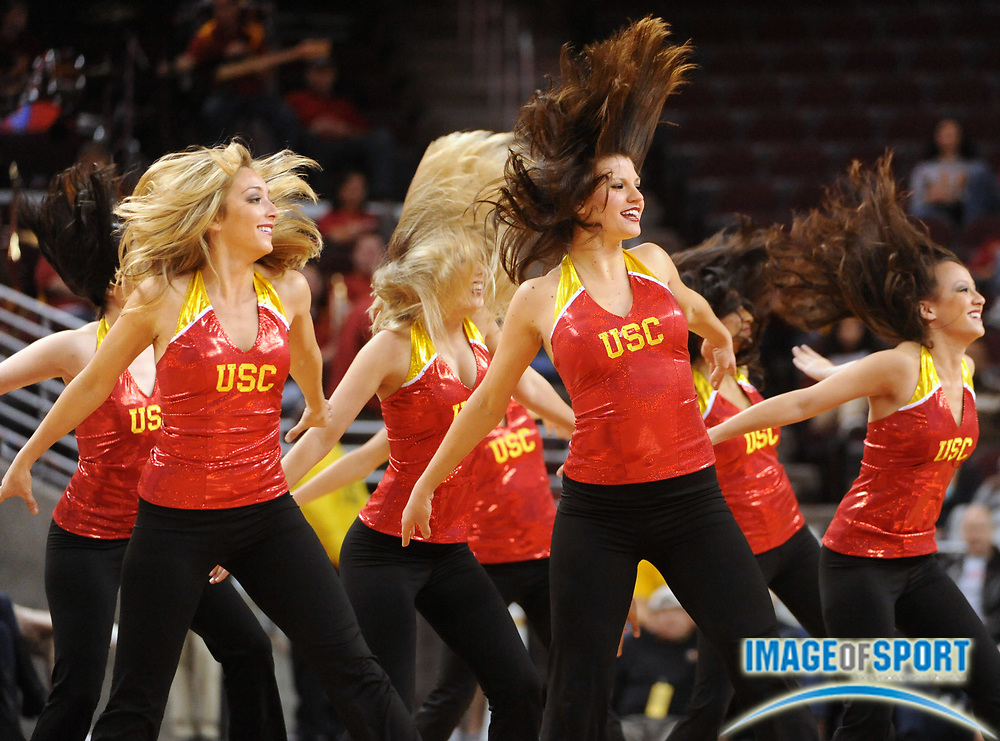 Jan 2, 2010, Los Angeles, CA, USA; Southern California Trojans dance force cheerleaders perform during the game against the Arizona State Sun Devils at the Galen Center.