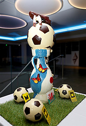 DINARD, FRANCE - Sunday, June 5, 2016: The European Championship trophy, Henri Delaunay Cup, made out of chocolate on display at Wales' team hotel Novotel Thalasso Dinard Dinard ahead of the start of the UEFA Euro 2016 tournament. (Pic by David Rawcliffe/Propaganda)