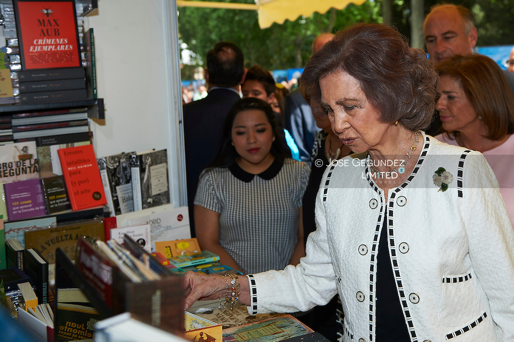 Queen Sofia of Spain attends the opening of Madrid Book Fair at the Parque del Retiro on May 29, 2015 in Madrid, Spain.