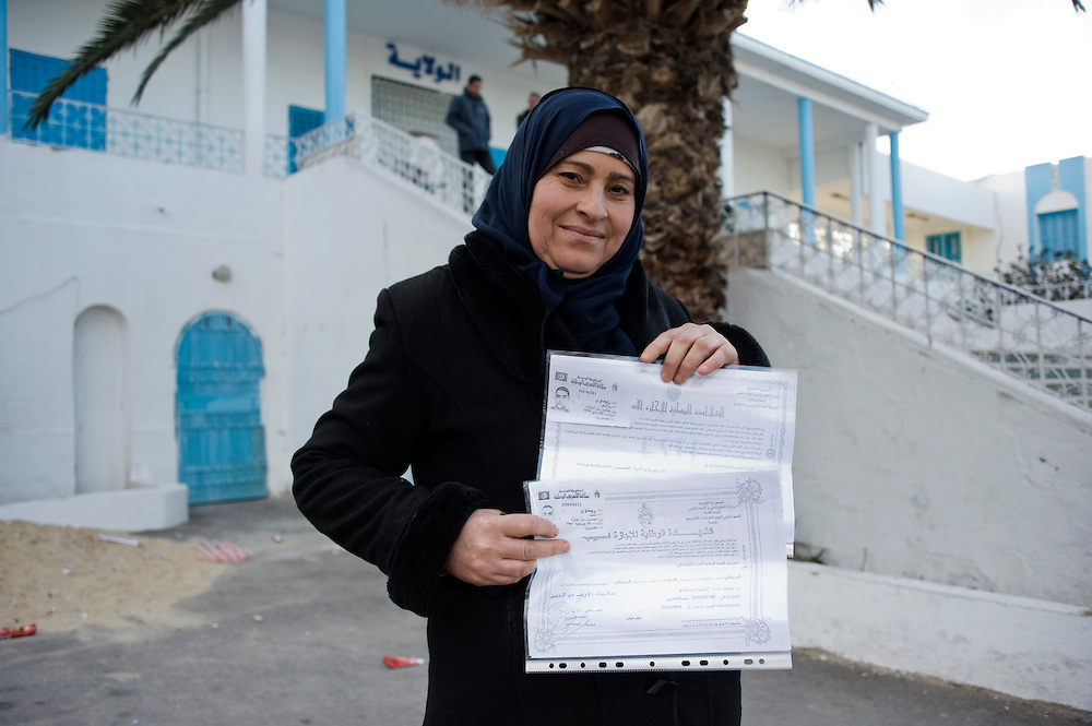 January 2016, Kasserine, Tunisia. Mouna Rebai is the mother of two unemployed men. Mouna join the sit in in the regional headquarters of the Kasserine Governate  siege for the last two weeks. The protesters have begun an hunger strike three days ago.