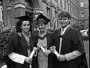 Graduations At Carysfort College.  (R84)..1988..24.07.1988..07.24.1988..24th July 1988..Today at Carysfort College saw the final conferring of degrees on the students in the teacher training programme. The college in Blackrock, Dublin trains students to become primary school teachers after a three year course and is under the control of the Department of Education...Image shows Marie O'Donoghue, Killarney, Co Kerry, Sinead Curtin, Tralee, Co Kerry and Richard Swann, Macroom, Co Cork after the conferring ceremony.