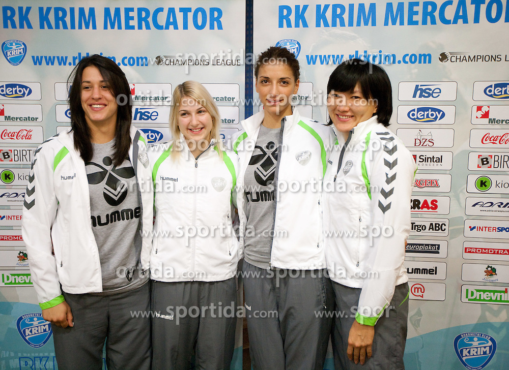 Andrea Lekic, Tamara Mavsar, Andrea Penezic and Ljudmila Bodnjeva during press conference of handball team RK Krim Mercator before new season 2010-2011, on September 29, 2010 in M-Hotel, Ljubljana, Slovenia. (Photo By Vid Ponikvar / Sportida.com)