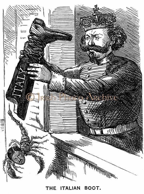 Unification of Italy: Victor Emmanuel II (1820-1878), first King of Italy from February 1861, shaking Leopold II, Grand Duke of Tuscany, out of Italy. Cartoon from 'Punch', London, 2 March 1861. Wood engraving