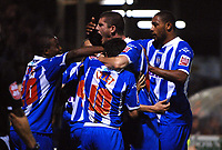 Photo: Ashley Pickering/Sportsbeat Images.<br /> Colchester United v Leicester City. Coca Cola Championship. 03/11/2007.<br /> Johnnie Jackson celebrates the equaliser for Colchester with team mates