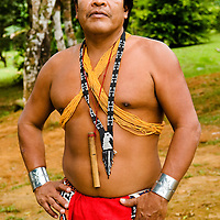 An emberá man. The Emberás are one of the seven indigenous groups still present in Panama.  They are usually find by the Chagres River in the Panama Canal protected areas as well as in the mountains and rivers of the Darien jungle