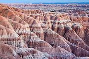Textured landscape in Badlands National Park, SD
