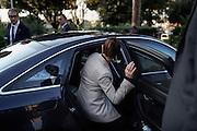 """Laura Boldrini entra in auto dopo aver partecipato ad un convegno dal titolo: """"Passato e futuro del garantismo"""" all'università RomaTre. Roma 29 ottobre 2014.  Christian Mantuano / OneShot"""