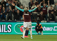 Football - 2017 / 2018 EFL (League) Cup - Third Round: West Ham United vs. Bolton Wanderers<br /> <br /> Arthur Masuaku (West Ham United)  turns in celebration after his shot come cross goes in to make it 3-0 at the London Stadium.<br /> <br /> <br /> COLORSPORT/DANIEL BEARHAM