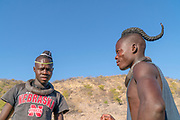 Himba men with traditional hair