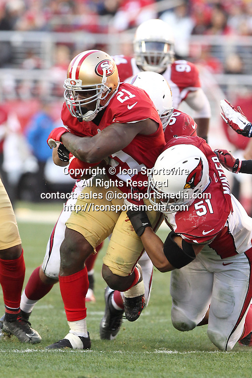 28 December 2014: San Francisco 49ers Running Back Frank Gore on one of his many big rushes during a 20-17 victory over the Arizona Cardinals at Levi's Stadium in Santa Clara, Ca.