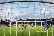 NIJMEGEN, NEC - ADO Den Haag, voetbal, Eredivisie seizoen 2015-2016, 03-10-2015, Stadion De Goffert, ADO Den Haag speler Aaron Meijers (L) schiet de bal in zijn eigen doel, 1-0 voor NEC, NEC speler Navarone Foor (M), ADO Den Haag keeper Martin Hansen (2R).