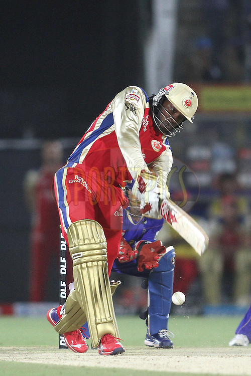 Chris Gayle of the Royal Challengers Bangalore attacks a delivery during match 30 of the the Indian Premier League (IPL) 2012  between The Rajasthan Royals and the Royal Challengers Bangalore held at the Sawai Mansingh Stadium in Jaipur on the 23rd April 2012..Photo by Shaun Roy/IPL/SPORTZPICS