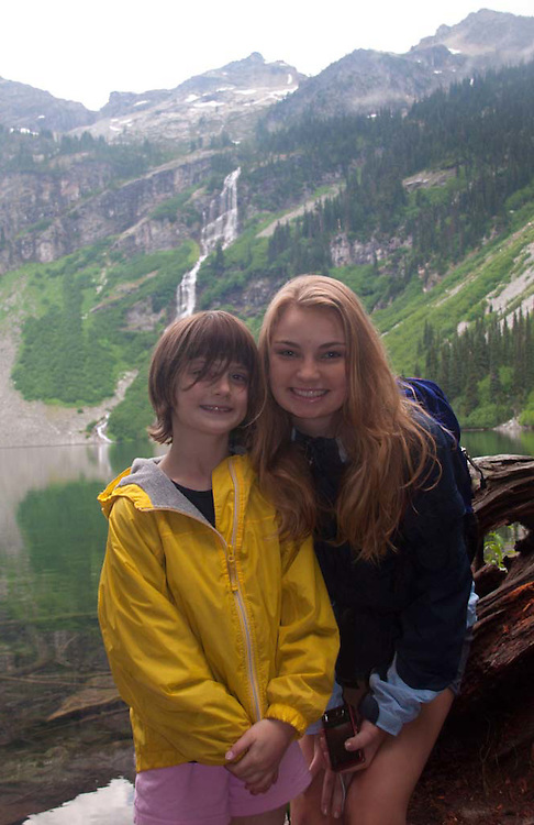 Eliza and Olivia at Rainy Lake, North Cascades National Park, Washington, US