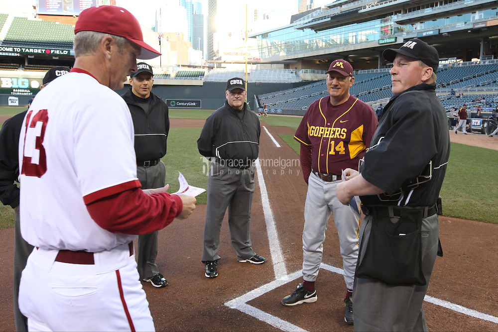 Minnesota Golden Gophers head coach John Anderson #14 during the 2013 Big Ten Tournament between the Indiana Hoosiers and Minnesota Golden Gophers at Target Field on May 23, 2013 in Minneapolis, Minnesota. (Brace Hemmelgarn)