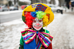 © Licensed to London News Pictures. 01/03/2018. London, UK. A Jewish child in fancy dress celebrates the festival of Purim in the streets of Stamford Hill in north London. Purim is celebrated by Jewish communities around the world with parades, parties in costume and the exchange of gifts. The event is documented in the Book of Esther, and commemorates the defeat of Haman, the advisor to the Persian king, and his plot to massacre the Jewish people 2,500 years ago. Photo credit : Tom Nicholson/LNP