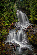 A beatiful seasonal waterfall on the Stevens Canyon road in the Ohanapecosh area of Mount Rainier National Park.