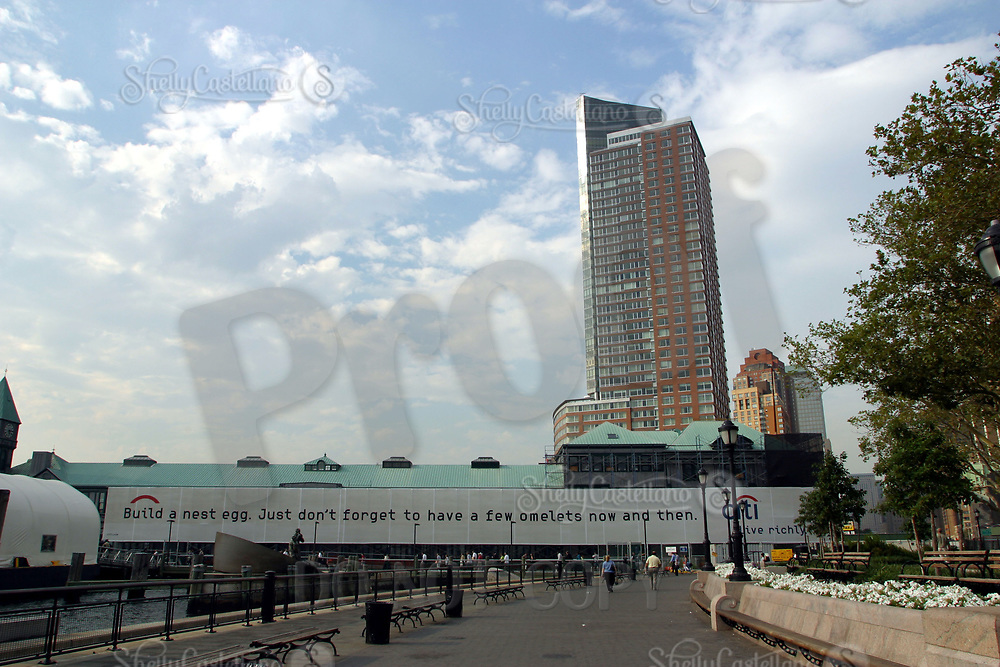 Aug 16, 2002; New York, NY, USA; Looking north to uptown from the South Ferry near Battery Park in lower Manhattan. Citi group incorporates a message on a boardwalk banner.  Mandatory Credit: Photo by Shelly Castellano/ZUMA Press. (©) Copyright 2002 by Shelly Castellano