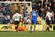 AFC Wimbledon goalkeeper George Long (1) almost saving penALTY during the EFL Sky Bet League 1 match between AFC Wimbledon and Peterborough United at the Cherry Red Records Stadium, Kingston, England on 12 November 2017. Photo by Matthew Redman.