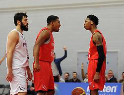 Bristol Flyers' Bree Perine celebrates his basket - Photo mandatory by-line: Dougie Allward/JMP - Mobile: 07966 386802 - 27/02/2015 - SPORT - basketball - Bristol - SGS Wise Campus - Bristol Flyers v Leeds Force - British Basketball League